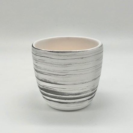 Small Whitewash Wood Ceramic Candle Container